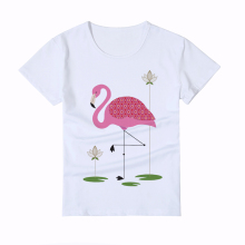 Summer Painted heat transfer Flamingo Kids T shirt Round Collar Popular Short Sleeves boy/girl/baby Tops Quality brand Tee Y4-5