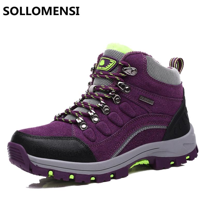 Prix pour Randonnée d'hiver chaussures femmes en plein air étanche escalade montagne zapatillas trekking mujer chaud hommes taille 35-46