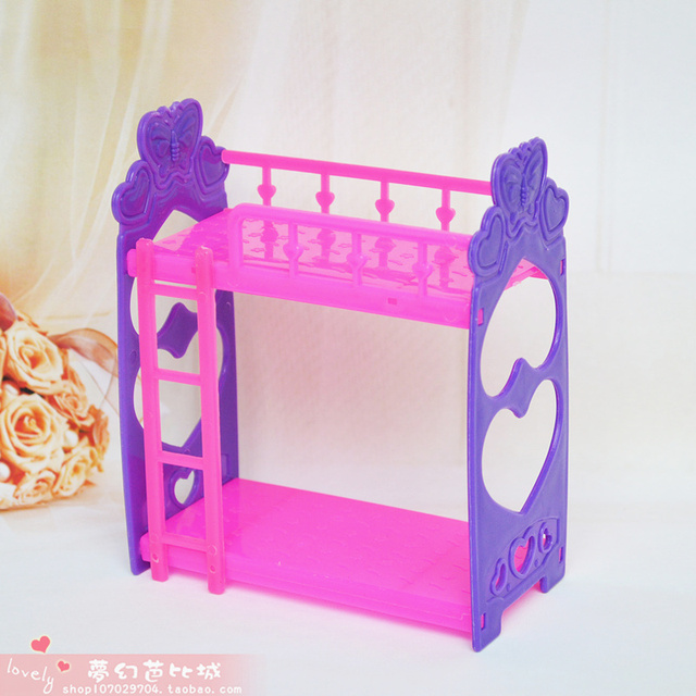 Girl Birthday Gift Plastic General Household Furniture Accessories Bunk Bed  DIY Play Toys For Barbie Kelly