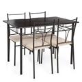 IKayaa EUA REINO UNIDO FR Estoque 5 PCS Armação de Metal Moderno Mesa Da Cozinha Móveis cadeiras Conjunto para 4 Pessoa 120 kg Capacidade Conjuntos de Sala de Jantar