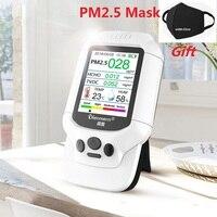 Air Quality Monitor LCD Display HCHO PM2.5 TVOC Gas Multifunctional Air Detector TVOC Gas Quality Monitor Temperature Hygrometer