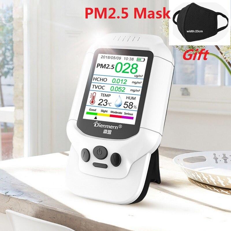 HCHO PM1.0 PM2.5 PM10 TVOC Rilevatore di Umidità di Temperatura del Tester PM 2.5 Analizzatore di Gas di Protezione A Casa AQI Qualità Dell'aria Monitor