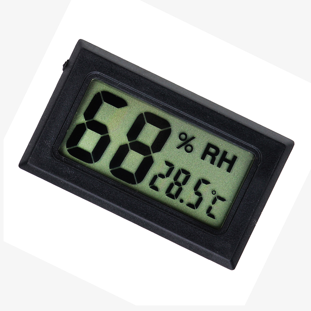 Smart Electronics Black Mini Digital LCD Indoor Temperature Humidity Meter Thermometer Hygrometer Gauge cigar box shape 1 0 lcd electric thermometer humidity meter black 1 x ag13
