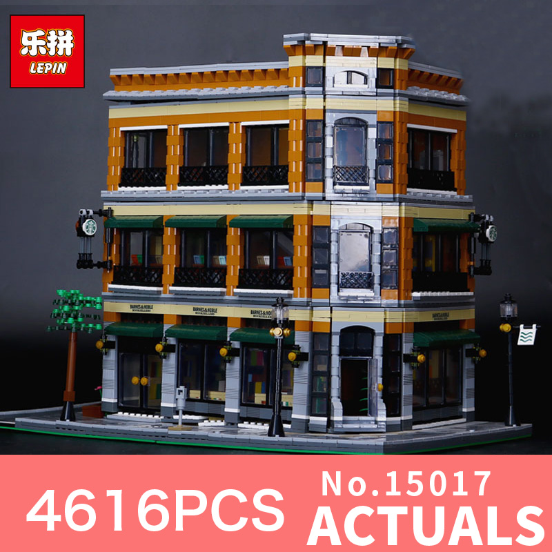 где купить 4616Pcs Lepin 15017 Street view Creator Starbucks Bookstore Cafe Model Building Kits Blocks Bricks Compatible Toys Gift дешево