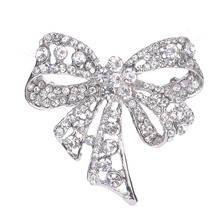 Sexy Women Hollow Out Crystal Bowknot Brooch Pin Party Wedding Bride Brooches Jewelry Gifts KQS8