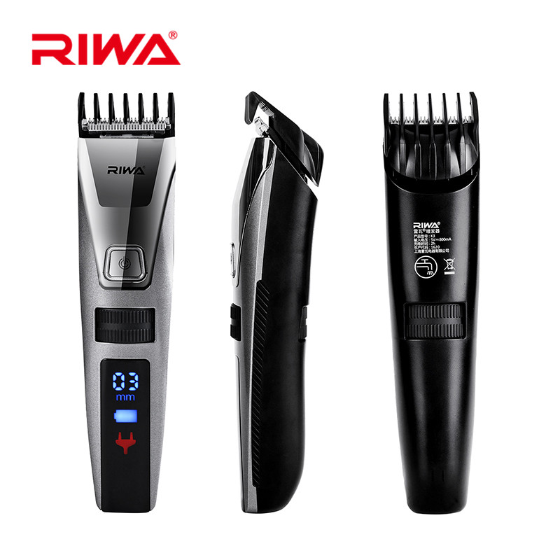 RIWA Waterproof Hair Trimmer LCD Display Men's Hair Clipper Rechargeable One Piece Biuld-in Comb Design Electric Haircut Machine waterproof rechargeable hair trimmer with accessories set black red 220v ac