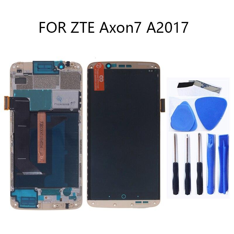 AMOLED Original para zte Axônio 7 LCD com frame touch screen display Assembléia digitador para zte A2017 A2017U A2017G Axon7 LCD