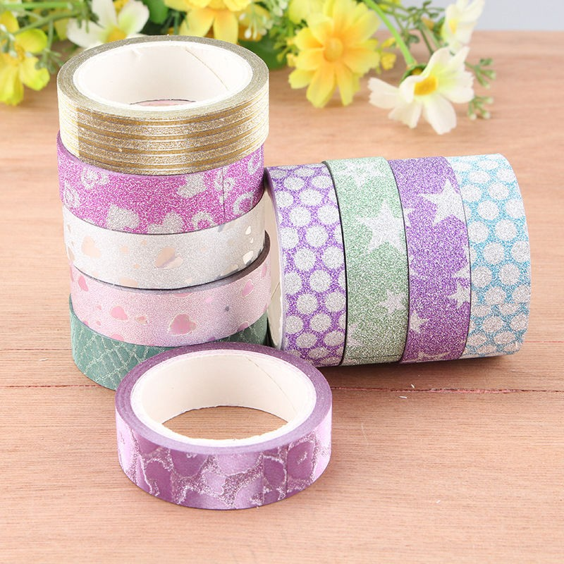 10 pcs diy self adhesive glitter washi masking tape sticker craft decor 15mmx3m c in stickers. Black Bedroom Furniture Sets. Home Design Ideas