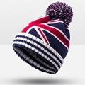New Fashion British Flag M Word Star Knitted Hat Unisex Winter Hat For Men Women skullies Beanies Outdoor Warm Hat skullies