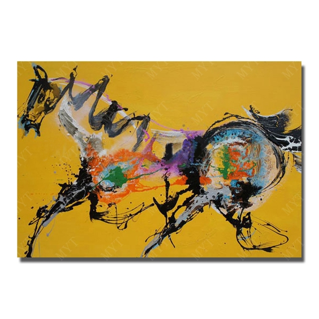 hnad painted cartoon animal oil painting for kids room decoration abstract chinese famous horse oil painting