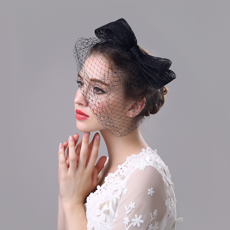 2017 Newest Wedding Hats With Bows Bridal Hair Accessories Linen Tulle chapeau mariage for Brides
