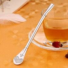 OLOEY Creative Stainless Steel Filter Spoon Drink Tea Coffee Straw Spoons Bar Acceaaories Tools Reusable Stirring