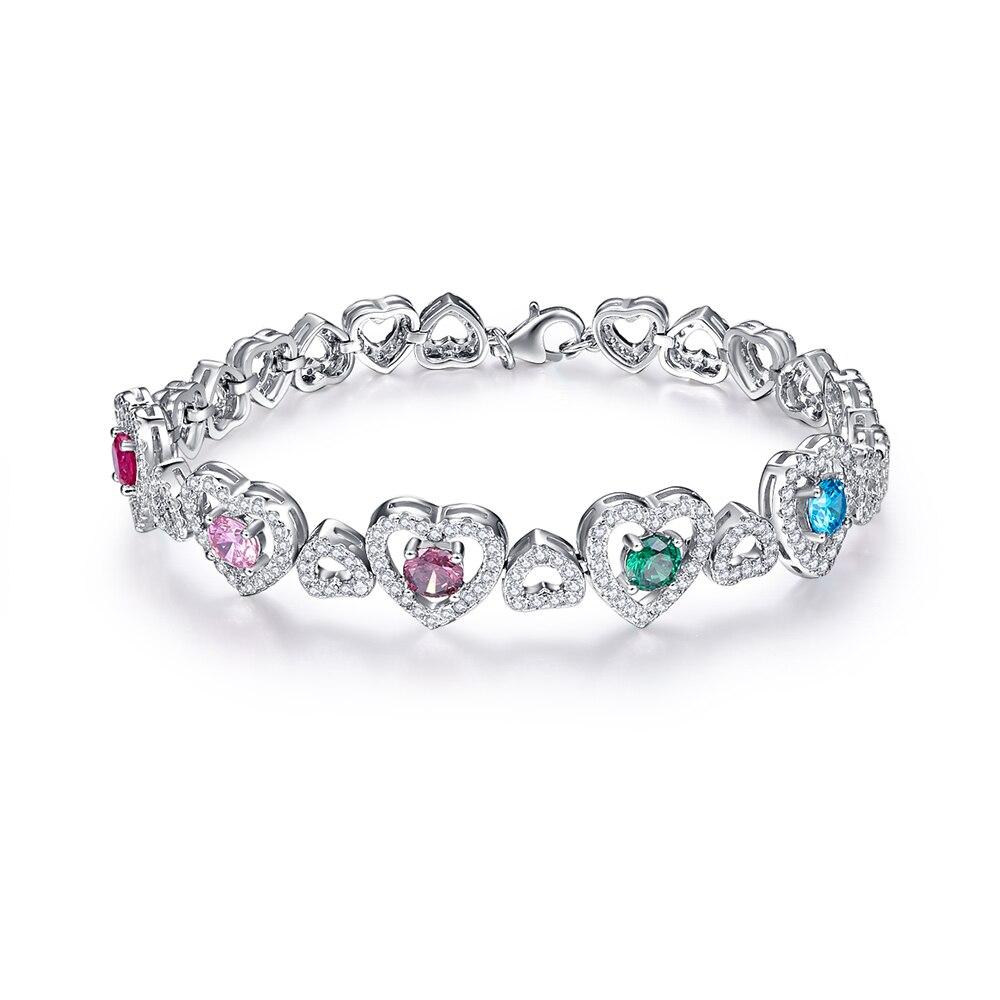 Jrose 18.3 CM coeur à coeur homard Design solide 925 en argent Sterling bracelets porte-bonheur broche réglage 5 couleur gemmes cadeau avec boîte - 2