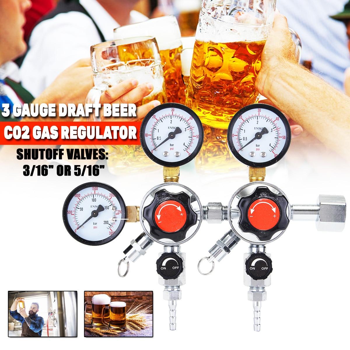 Heimwerker 1 Stück 3 Gauge Co2 Gas Regler Für Homebrew Soda Bier Vom Fass Fass Set 2 Drücke Mit 3/16 5/16 stacheldraht Shuttoff Ventil W21.8 Eleganter Auftritt