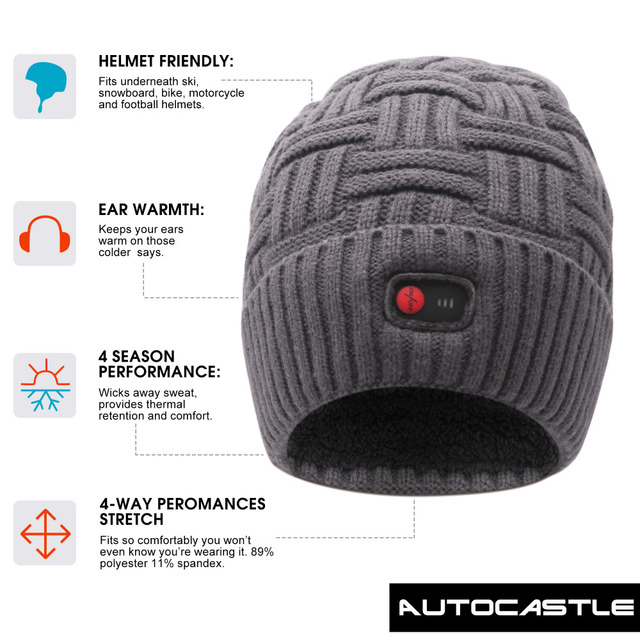 QILOVE 7.4V heating hat keep warm winter outdoor sports heat therapy caps quick heating head warmer with 3 levels control 5