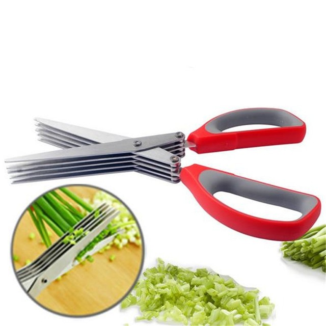 10pcs Herb Kitchen Scissors 5 Layer Shears Stainless Steel ...
