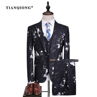 TIAN QIONG Mens Wedding Suits Groom Velvet Tuxedo Jacket Floral Print Classic Men Suits Blazer with Pants Prom Stage Wear 3 Pce