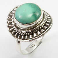 Cabochon Turquoises Ring Size 7.75 6.3 Grams Women's Jewelry Solid Silver Unique Designed