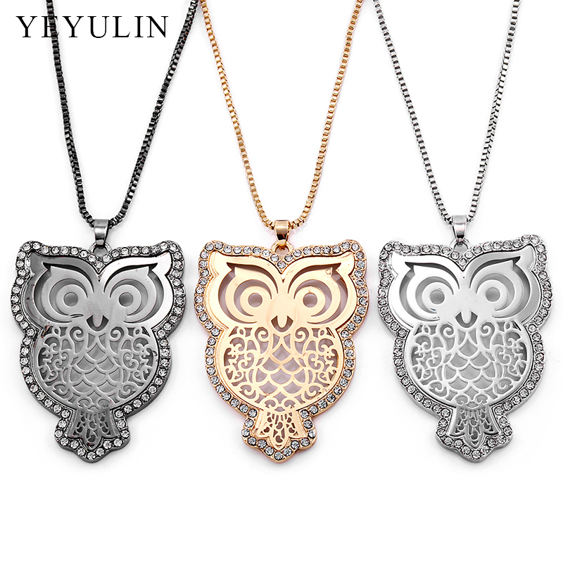 Hot Selling Inlay Crystal Cute Animal Necklace Hollow Out Owl Long Sweather Chain Pendant & Necklace For Woman Collier Choker