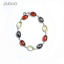 JIUDUO btacelet Polish Baltic Sea natural amber old honey 5A chicken yellow beeswax 925 sterling silver Western antique bracelet