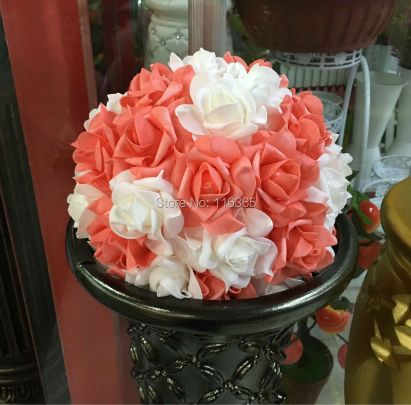 10 25cm 14pcspack white coral mixed foam kissing rose flower 10 25cm 14pcspack white coral mixed foam kissing rose flower ball artificial decorative flower wedding flower free shipping in artificial dried mightylinksfo