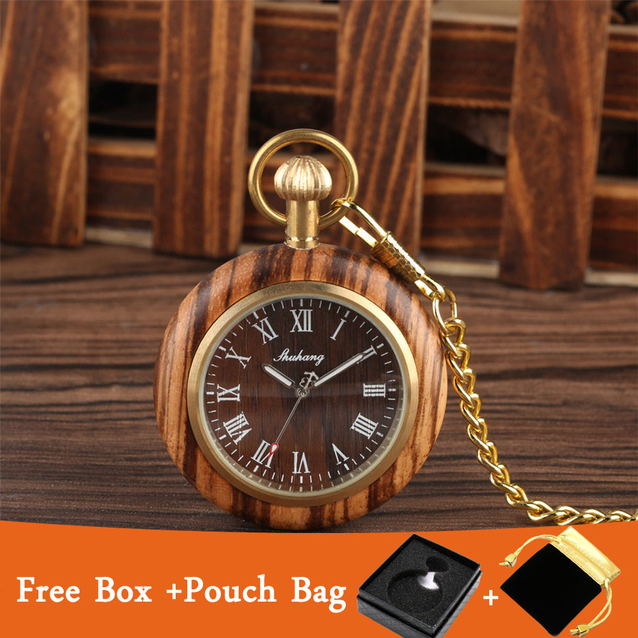 Vintage Open Face Roman Numerals Display Quartz Pocket Watch Wooden Case Luxury Pendant Steampunk Clock With Golden 30 Cm Chain