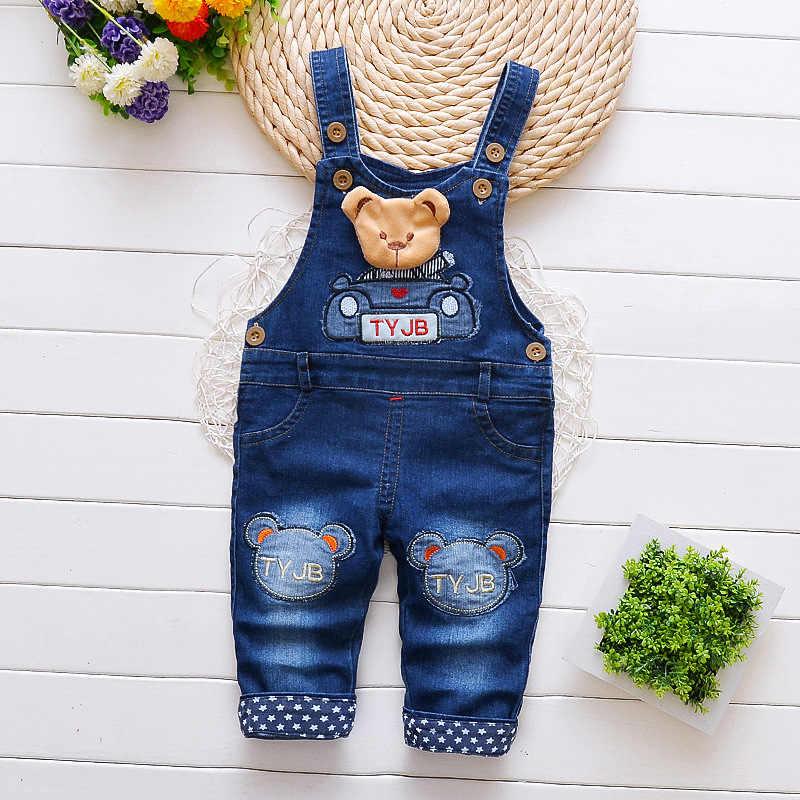 DIIMUU ใหม่แฟชั่นเด็กชายหญิงเสื้อผ้าเด็กวัยหัดเดินเด็ก Overalls Denim ผ้าฝ้ายสบายๆกางเกงการ์ตูนหมีกางเกง