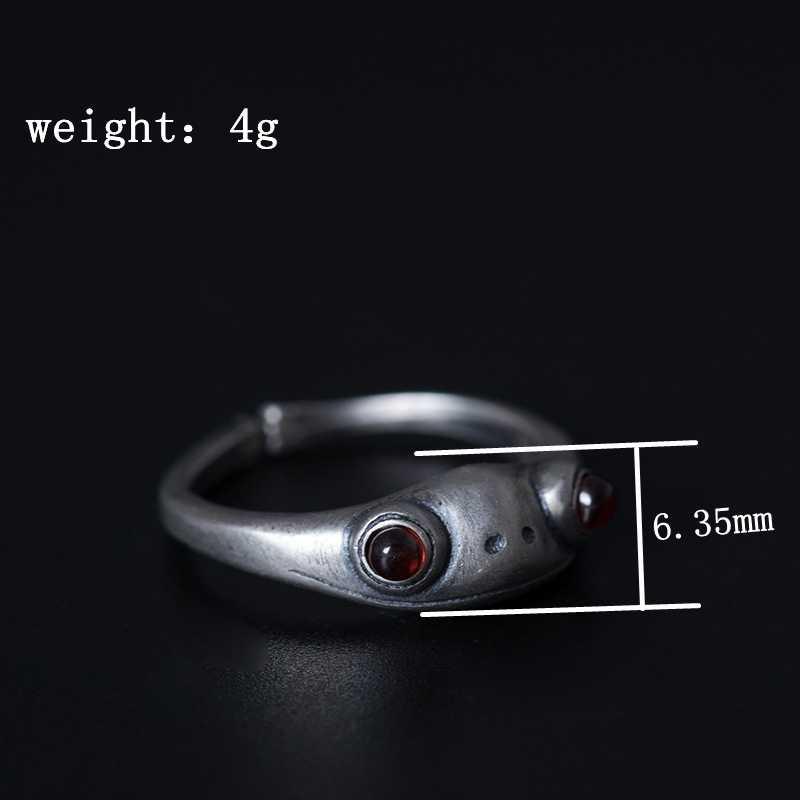 ใหม่ 925 เงินสเตอร์ลิงสีแดงหยกกบแหวนเงิน handmade สีแดงธรรมชาติหยก vintage กบเปิดแหวนหยกเครื่องประดับของขวัญ
