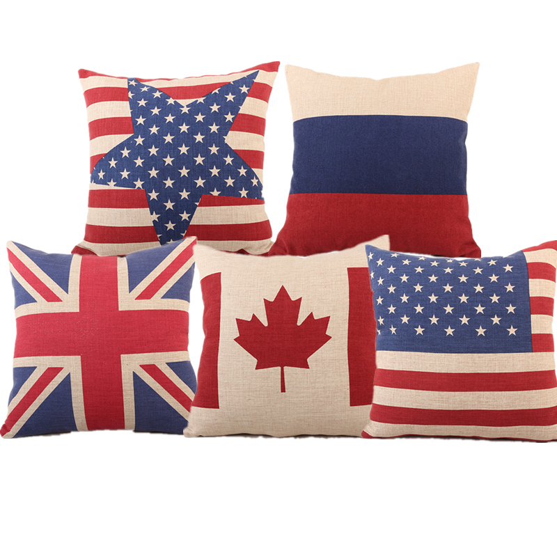 High Quality Us Uk Canada Russia National Flag Linen Cotton Cushion Cover For Sofa Car Bed