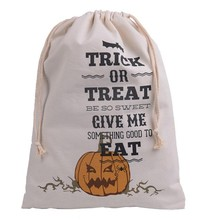 Cotton Canvas Halloween Sack Children favor Candy cloth Gift Bag Pumpkin Spider treat or trick Drawstring Bags Party Cosplay