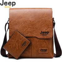 Мужская брендовая кожаная сумка-тоут jeep buluo, комплект, однолямочная сумка цвета хаки и кошелек, деловая сумка для документов, портфель на пле...