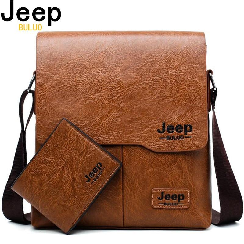 58e90a1432 Hommes fourre tout sacs ensemble JEEP BULUO célèbre marque nouvelle mode  homme en cuir Messenger sac mâle croix corps épaule sacs d'affaires pour  hommes ...