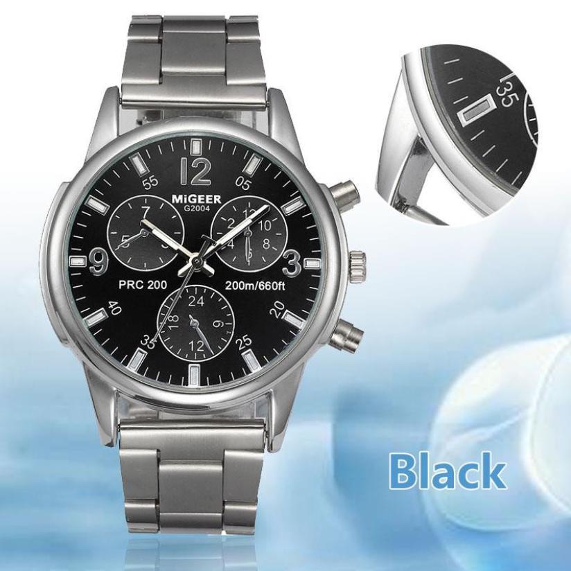fbdc3f5c8c8 Relógio dos homens 1 pc Homens Moda Aço Inoxidável Analógico Quartz Relógio  de Pulso Pulseira de