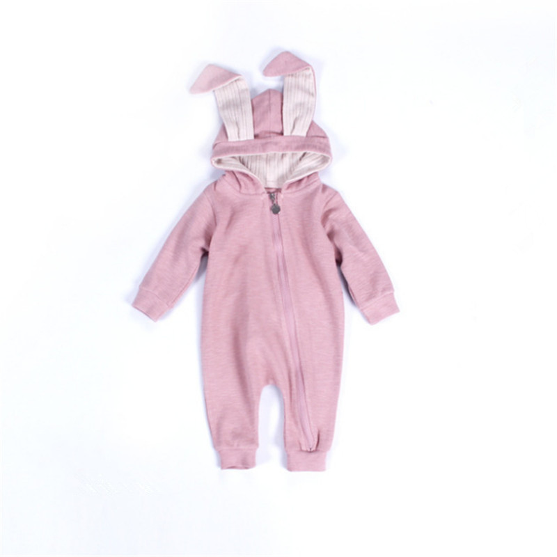 2018 Autumn Winter Baby Clothing New Newborn jumpsuits Baby Boy Girl Hooded Rabbit Romper Clothes Long Sleeve Infant Product organic cotton baby romper soft newborn baby boy girl romper clothes long sleeve infant product baby clothing set ra5 12h