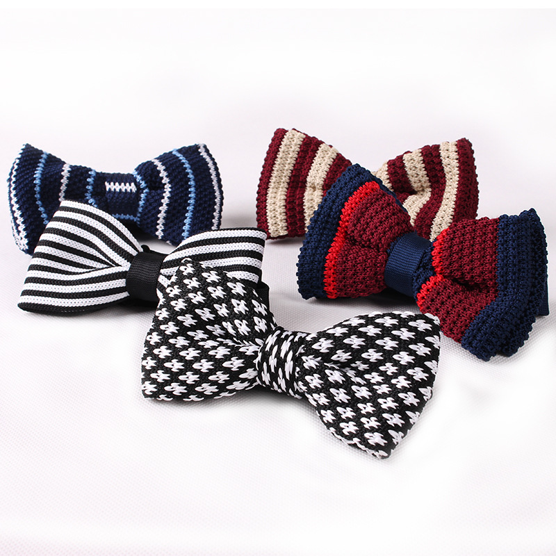 TagerWilen Mens Boys Dot Striped Knitted Bow Ties Knit Woven Butterfly Classic Skinny Knitting Bowtie T-112