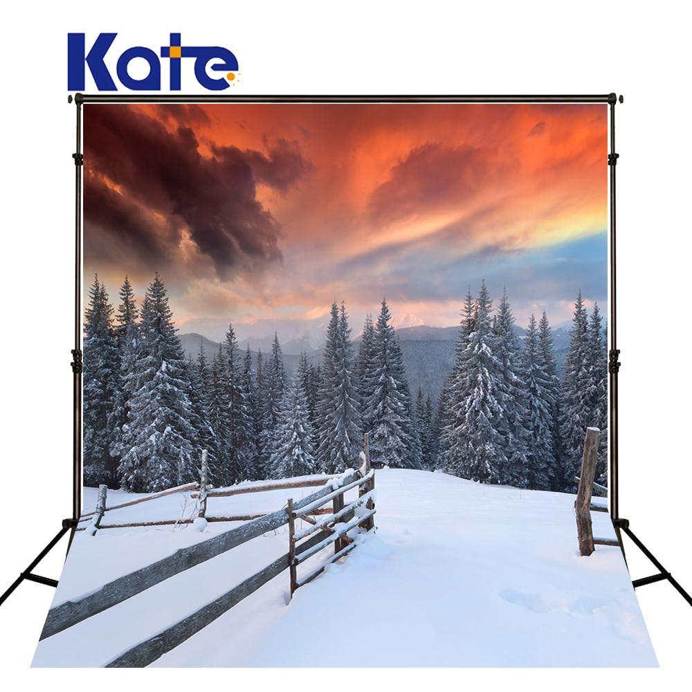 Kate 5x7ft Christmas Photography Background Snow Sunset Custom Photo Backdrops Wedding Washable Photography Studio Photo Prop kate photo background 5x7ft yellow leaf