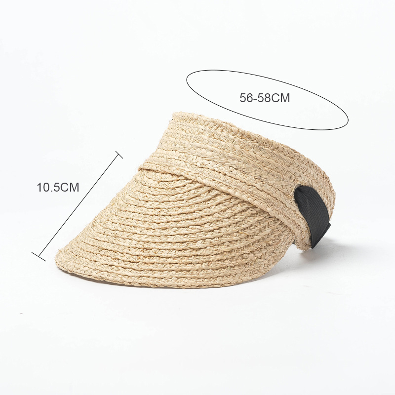 2019 Transparent Visor Straw Sun Hat Women Lafite Weaving Summer Caps Hat Women Summer Empty Top Hat Foldable Summer Beach Hat in Women 39 s Sun Hats from Apparel Accessories