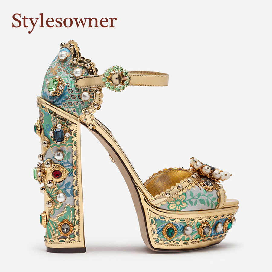 Stylesowner 2019 Court Style High Heels Thick High Heel Waterproof Platform Fish Mouth Embroidery Fashion Shoes High Heel Woman
