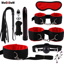 MwOiiOwM Sex Toys Kits Sex Bondage 10 Pcs/Set Sexy Lingerie Handcuffs Whip Rope Anal Vibrator Exotic Products for Couples
