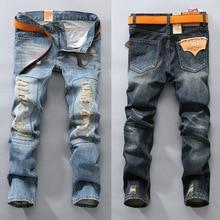 Men's Jeans straight fit classic denim Jeans Trousers men's pants blue black casual long Hole pants jeans mens trouses #067