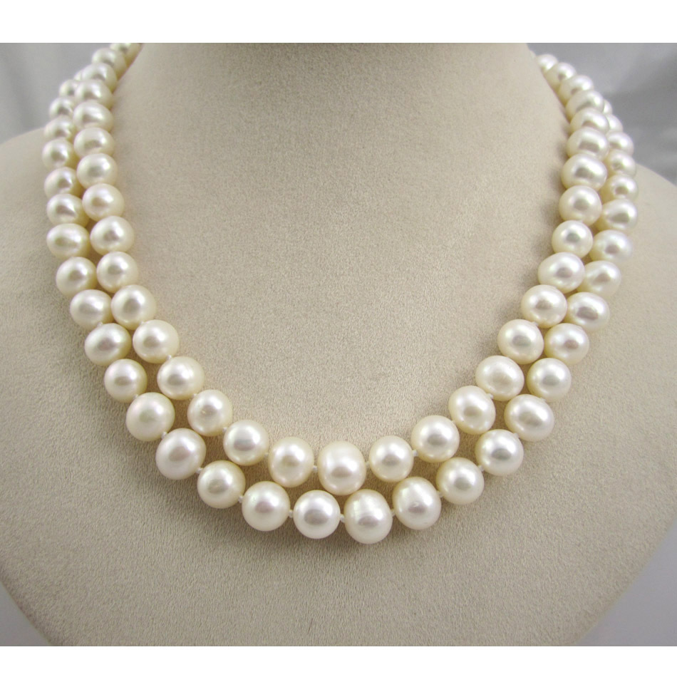 Free Shipping White Freshwater Pearl Necklace Double Strands 89mm  Nearround Real Pearls(china
