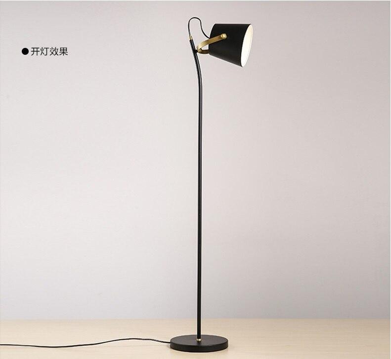 1405mm Height Steel Stem Floor Lamp with Metal Shade in Black