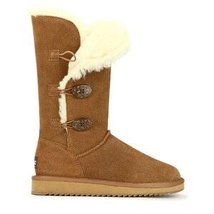 Image 4 - GOGC 2018 נשים חורף מגפי שלג מגפיים חם נשים של חורף מגפי עם צמר פרווה נוח עור אמיתי נעלי נשים 9722