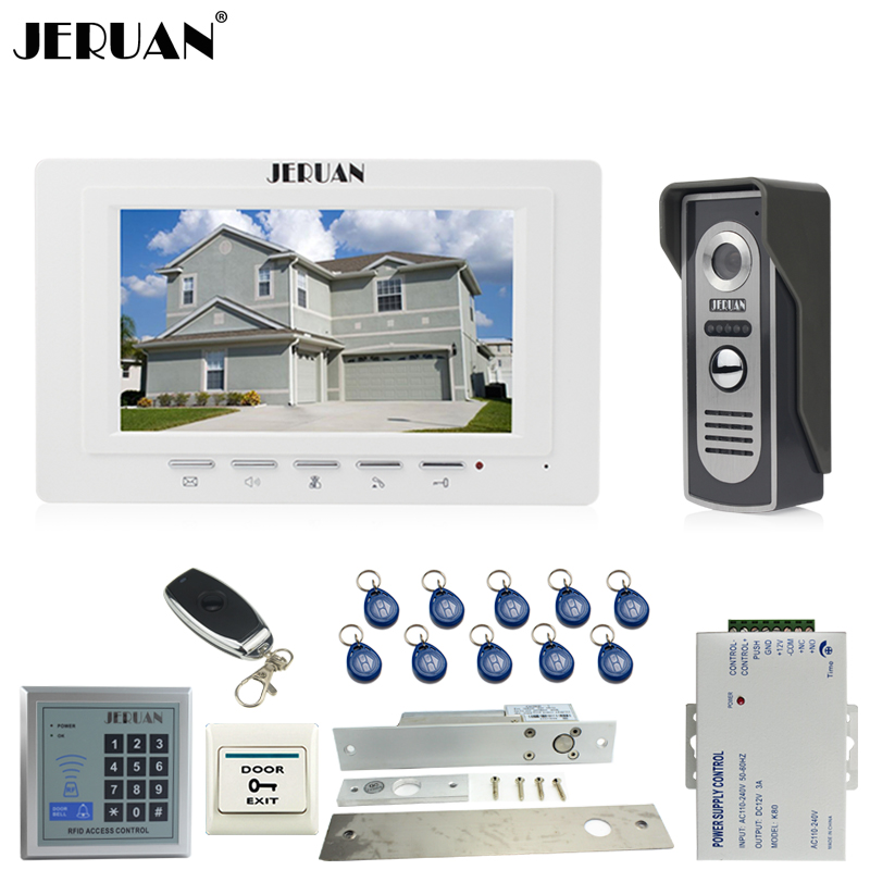 JERUAN Wired 1V1 Intercom Doorbell 7`` Video Door phone Intercom System kit 1 Monitor 700TVL IR COMS Camera RFID Access Control jeruan home 7 video door phone intercom system kit 1 white monitor metal 700tvl ir pinhole camera rfid access control in stock