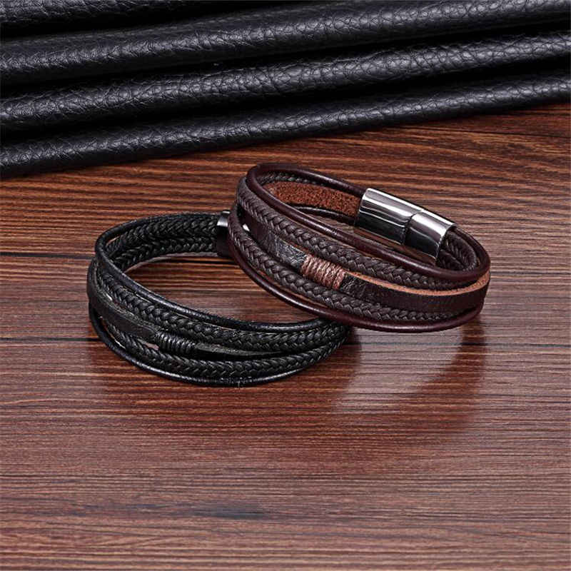 Punk Cowhide Woven Rope Chain Charm Wristband Pulseras Leather Bracelet Men Jewelry Stainless Steel Bracelet & Bangle Retro Gift