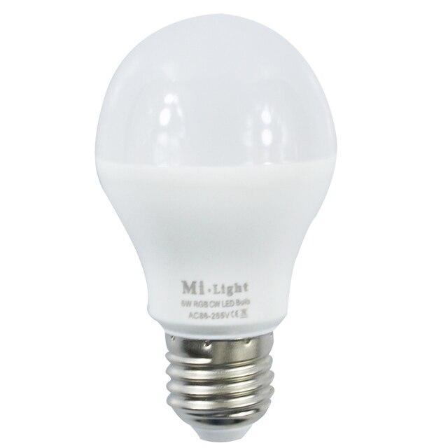 Mi Light 2.4G AC86-265V E27 6W Wifi RGB / RGBW LED Smart Light Bulb Wireless Brightness color Temperature Dimmable LED Bulb
