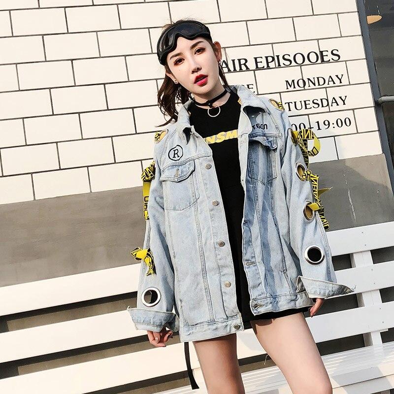 Anneau Punk Femmes Veste Métal Casual Bandage Ciel Manteau setter En 2018 Et Denim Pu Lâche Style Évider Tendance Printemps Nouveau Oversize qzAvX