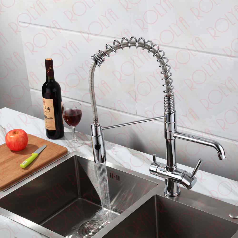 Rolya 3 way kitchen faucet with spring hose 8
