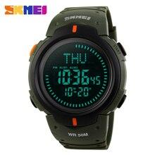 Skmei marca de relojes de lujo de los hombres relojes digitales a prueba de agua luz de fondo el compás 5atm relojes de cuenta regresiva al aire libre relojes deportivos