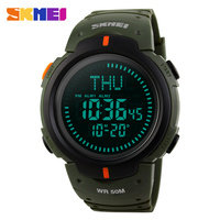 Men S Watch SKMEI Fashion Watches EL Backlight Compass Pedometer Wristwatches 5ATM Water Proof Digital Outdoor